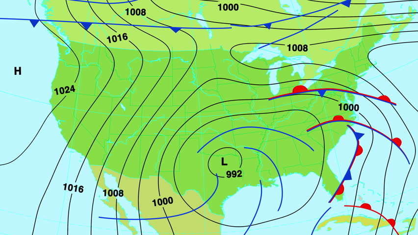 Us High Pressure Map Animated Weather Forecast Map of Stock Footage Video (100% Royalty