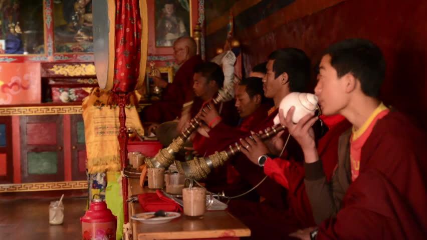 NEPAL. HIMALAYAS – april, 17, 2012: Mountain monastery. The religious  ritual.   Shutterstock HD Video #6969199