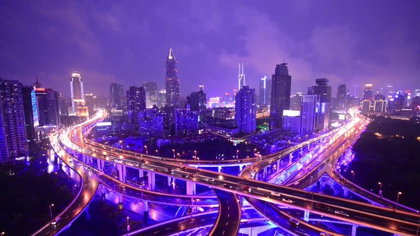 Shanghai, china highways and skyline. | Shutterstock HD Video #6972976