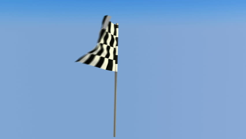 Finish â?? Loopable waving checkered flag over blue sky