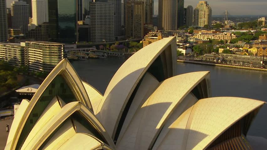 SYDNEY, AUSTRALIA - CIRCA SPRING 2013 - Wide aerial shot of the Sydney Habour heading south  Sydney Opera House, Sydney, Circular Quay, City, CBD, The Rocks, Botanic Gardens