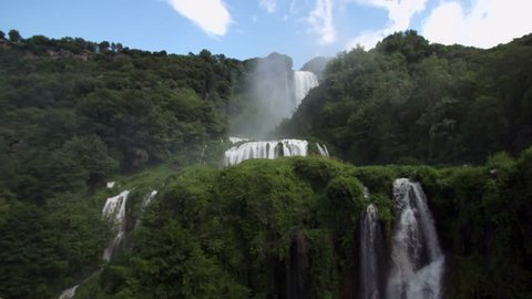 Slow Motion Waterfall with video zooming in