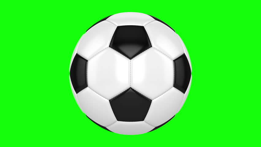 Soccer ball rotates on its axis. Seamless looped animation on green screen