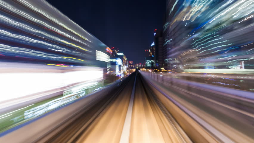 Aerial subway timelapse at night - Tokyo Odaiba line   Shutterstock HD Video #7043476