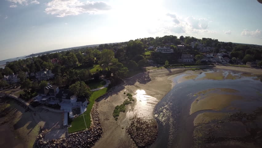 Panoramic aerial views of luxury New England real estate. Shot at Compo Mill Cove in Westport, Connecticut, USA in 2014.