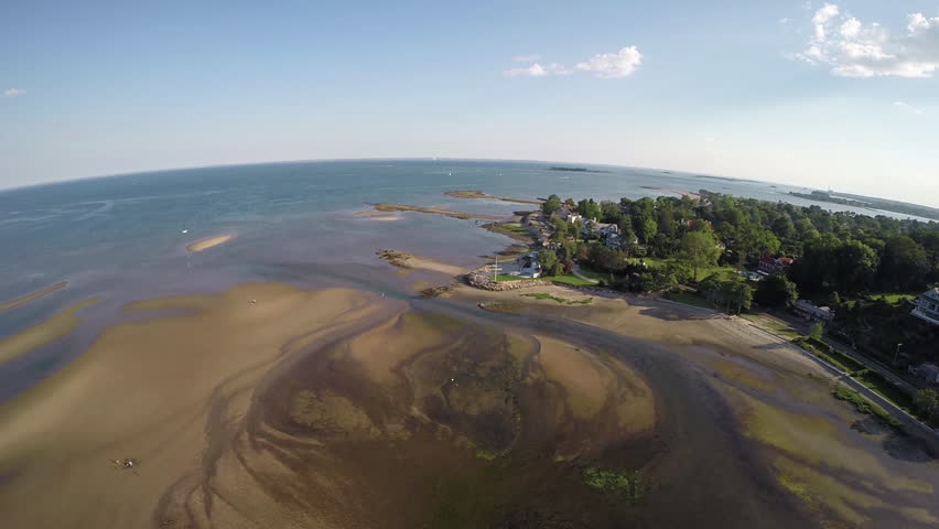360 degree panoramic aerial view of Compo Mill Cove in Westport, Connecticut USA. Circa 2014. Luxury real estate.