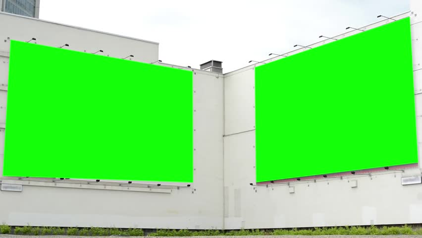 Billboard on a big building - green screen - with two old walking people - cloudy sky with nature | Shutterstock HD Video #7071397