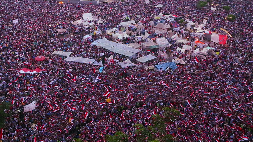 Overhead view as protestors jam Tahrir Square in Cairo, Egypt.