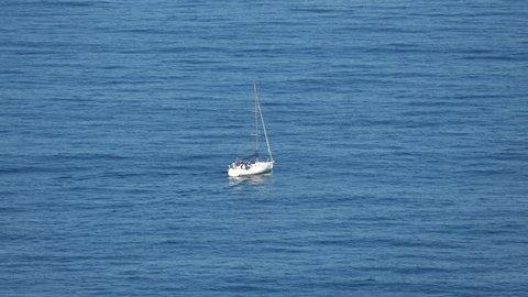 Sailing Boat at Ocean, top view shooting closeup 4K