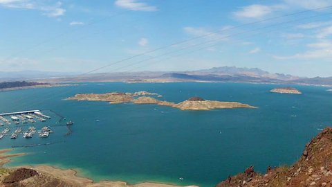 A wide angle view of the western end of Lake Mead near Hoover Dam showing how low the lake has dropped due to the western drought. Image taken summer 2014.