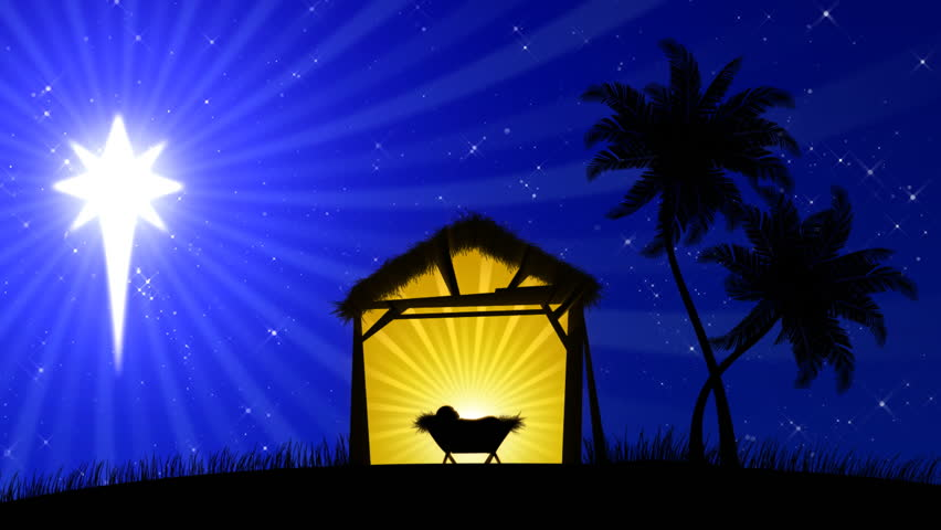 Nativity scene with animated palm trees and the star of bethlehem