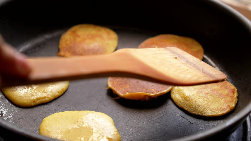 Making of Home Made Pancakes on Frying Pan. Turning over Flapjacks. HD, 1920x1080. | Shutterstock HD Video #7185706
