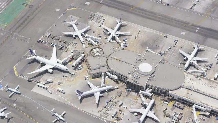 Aerial view of an international airport terminal. Los Angeles LAX International airport terminal, California, USA