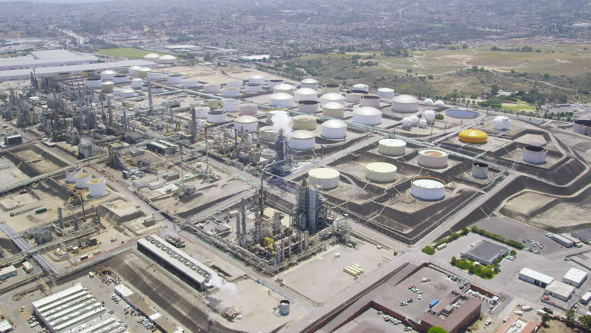Aerial view of California Oil, Gas & Electricity industry. United States of America. Located near Los Angeles oil fields.