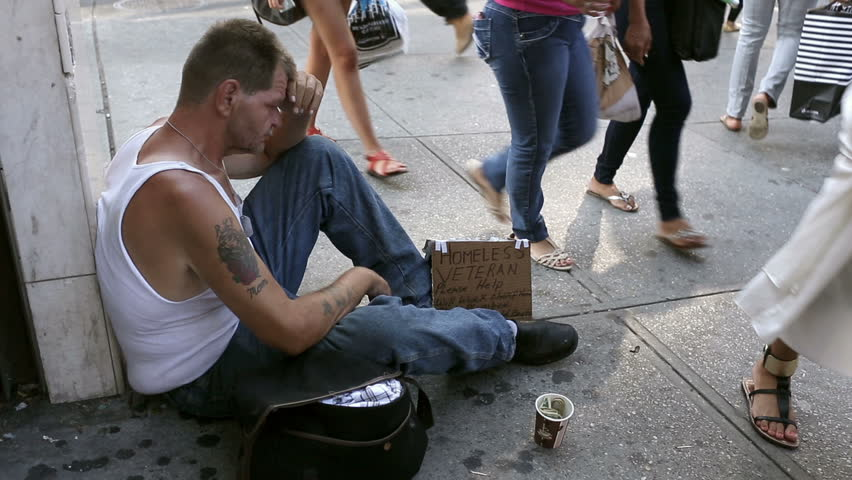 Homeless Veteran with Sign and Cup - Woman Gives Sad Depressed Street Person Money