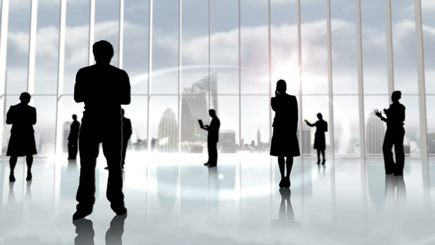 Black silhouettes of business people against large window overlooking city | Shutterstock HD Video #7271671