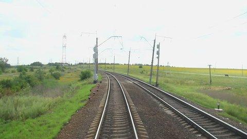 Looking at railway tracks through coach window, train travel