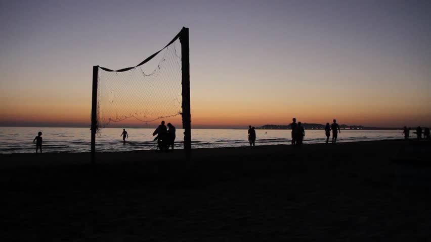 Beachvolleyball at sunset