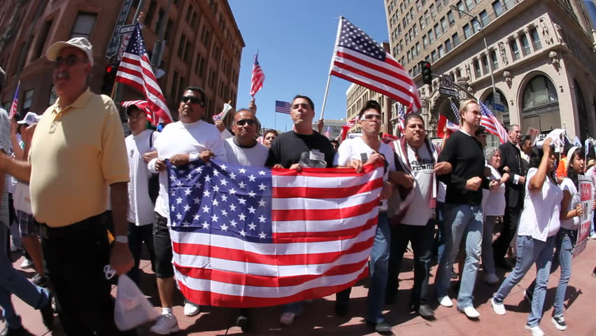 LOS ANGELES - MAY 1: May Day Immigration Protest Rally Against Arizona's New Law on May 1, 2010 in Los Angeles, California