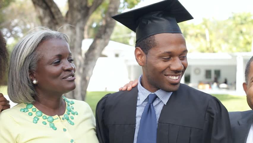 African American Student Celebrates Graduation