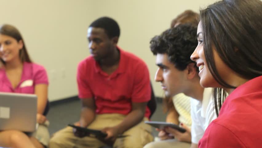 High School Students And Teacher In Classroom | Shutterstock HD Video #7344271