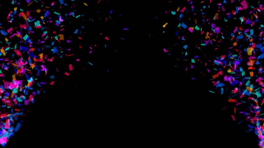 Animation of colorful falling confetti (luma matte included)