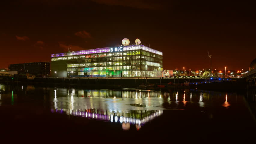 GLASGOW, SCOTLAND - CIRCA OCTOBER 2013: BBC Pacific Quay by the River Clyde at night in Glasgow.