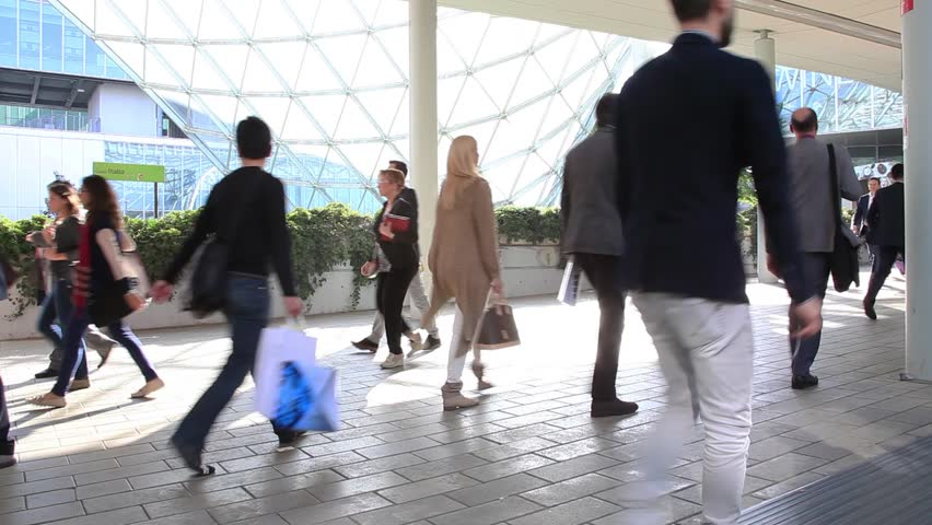 MILANO - APRIL 10, 2014: People at the entrance of Salone del Mobile, international home furnishing and accessories design exhibition in Milano, Italy. Time lapse version. | Shutterstock HD Video #7398226
