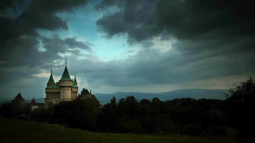 4K Ultra HD (4096 x 2304 px): Stormy clouds gather over Bojnice Castle   Shutterstock HD Video #7412083