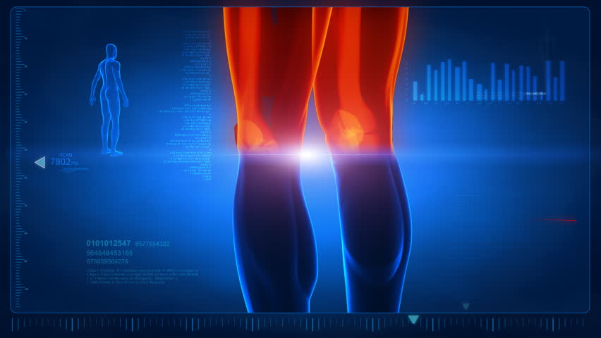Human scan in loop 2- feet and knee parts Royalty-Free Stock Footage #741700
