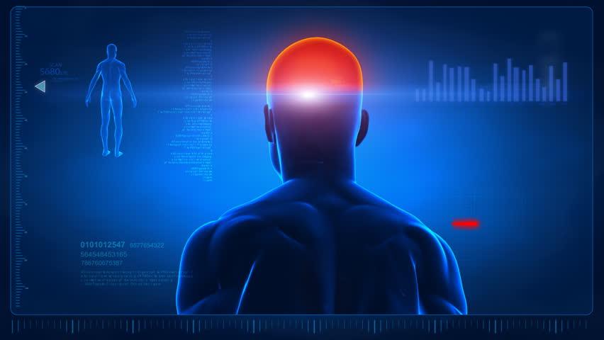 Human scan in loop 5 - head and shoulders parts Royalty-Free Stock Footage #741712