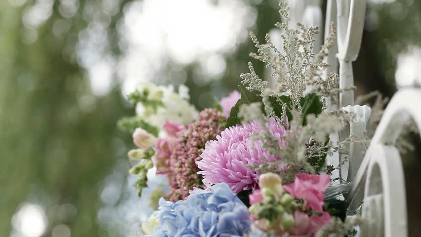Beautifully decorated festive floral arrangement | Shutterstock HD Video #7419685