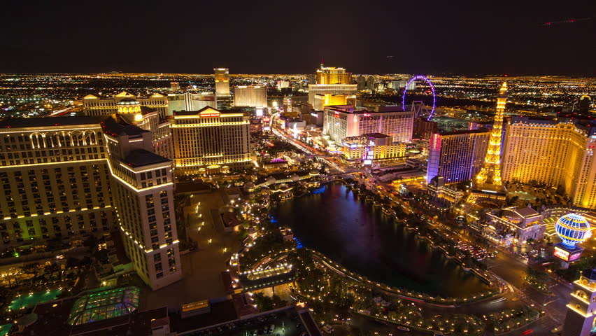 LAS VEGAS - CIRCA JULY 2014: Las Vegas strip evening night neon lights | Shutterstock HD Video #7427128