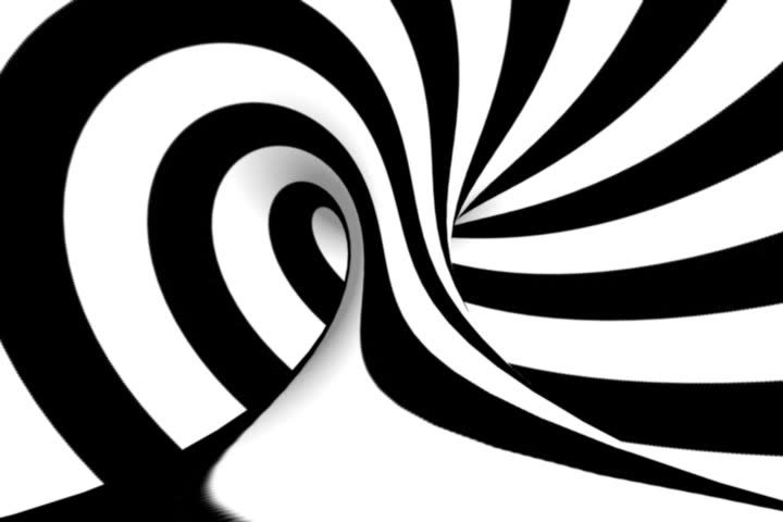 Black and White stripes rotate hypnotically in a six second loop