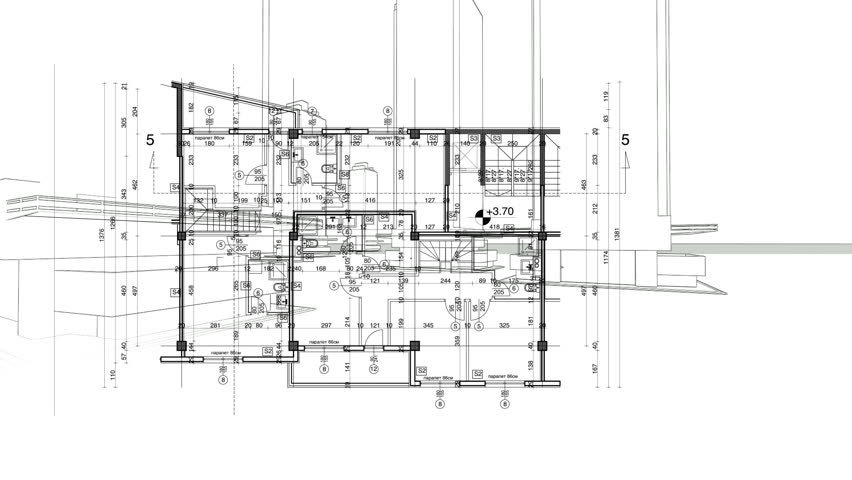 Abstract architecture background: blueprint house plan with sketch of city animated in background | Shutterstock HD Video #7437091