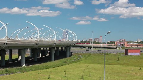 Western High Speed Diameter elevated route and turning to beltway in Saint-Petersburg, Russia