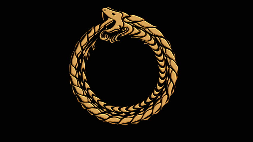 Ouroboros symbol of ancient golden snake eating its tail in animated circular motion
