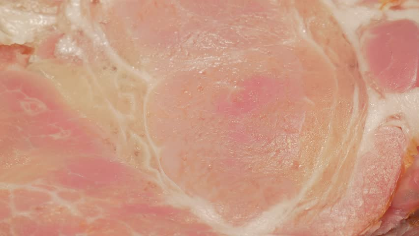 Meaty bacon slices tasty food 4K UHD 2160p footage - Bacon meaty slices served 4K 3840X2160 UHD panning video | Shutterstock HD Video #7479361