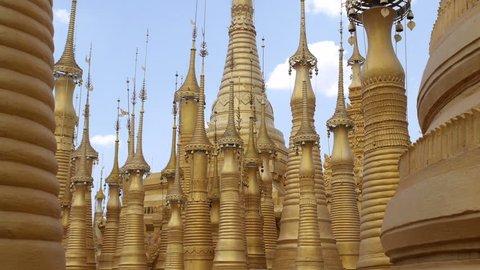 Buddhist pagodas at Shwe Inn Thein temple at Indein village, Inle Lake, Shan State, Myanmar (Burma).