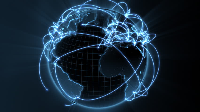 3d animation of a growing network across the world - blue version - see clip ID 34874662 for new and improved 4K version