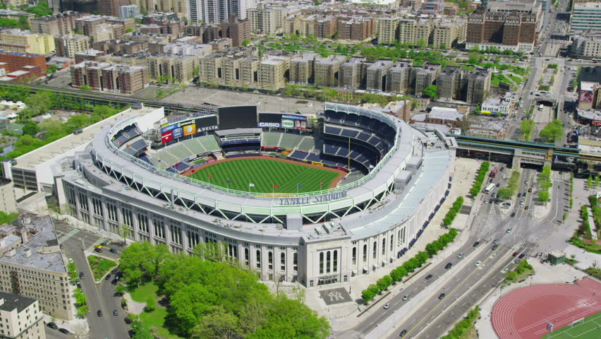 NEW YORK JULY 2014 - Aerial view of Yankee Stadium in downtown New York City.  NEW YORK, USA 1 JULY 2014 EDITORIAL
