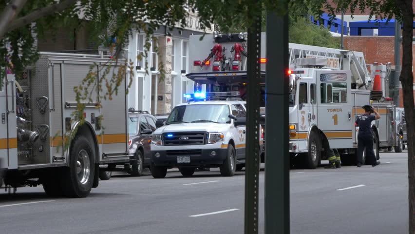 Denver Colorado, Circa September 2014 -Flashing lights on a fire truck as firemen respond to an emergency call in downtown Denver Colorado.