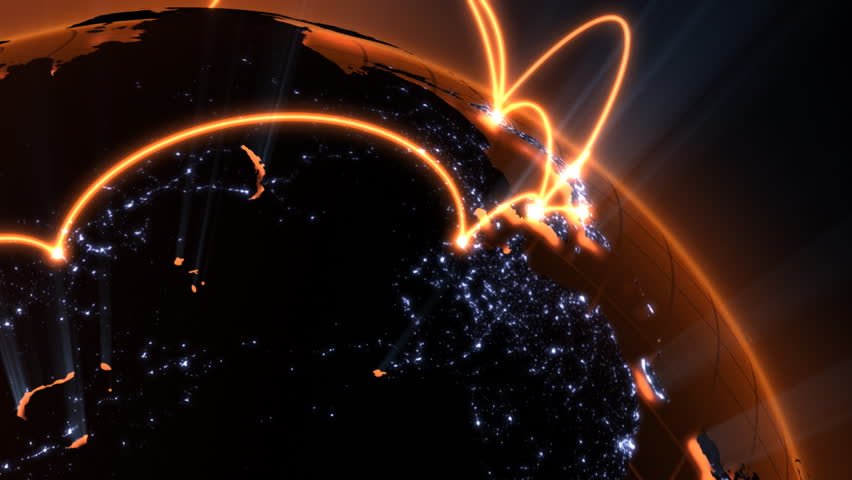 3d animation of a growing network across the world - orange version   Shutterstock HD Video #751834
