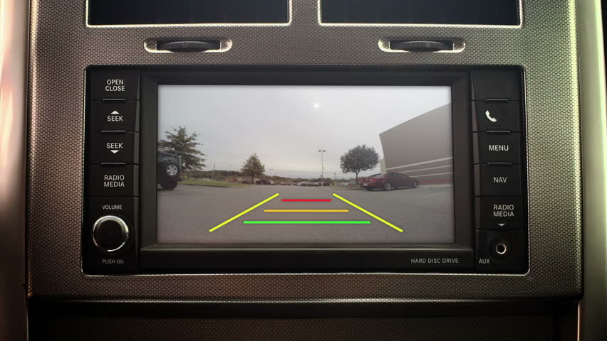 A car's backup camera in action. With green screen and optional luma matte for your custom imagery.  | Shutterstock HD Video #7551442
