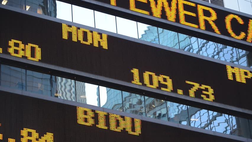 Stock market scrolling ticker with quotes