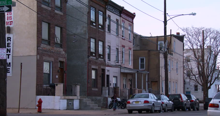 BALTIMORE, MARYLAND - CIRCA 2014 - Tenements houses in an American city.