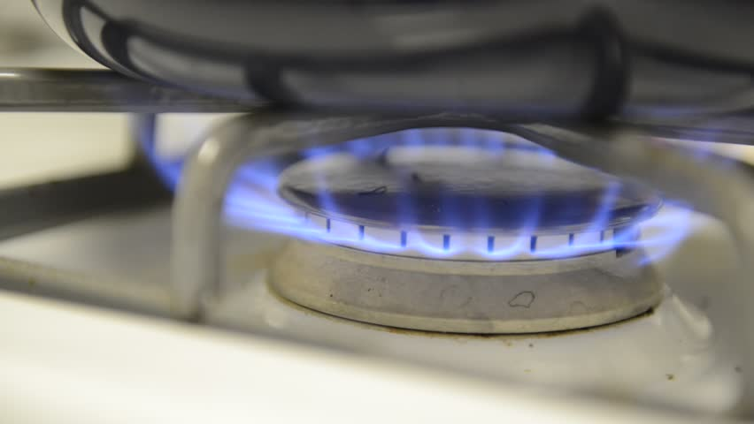 Blue flame on gas stove, HD video
