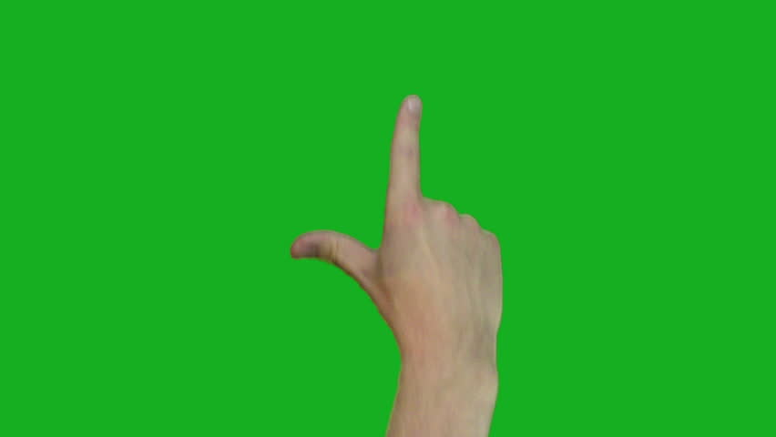 10 Single Hand Pre-keyed Touch-screen Gestures, Green Background easily removed. Ipad, Iphone. Slate with time-codes included at the end, all gesture animations start on round numbers. | Shutterstock HD Video #7583716