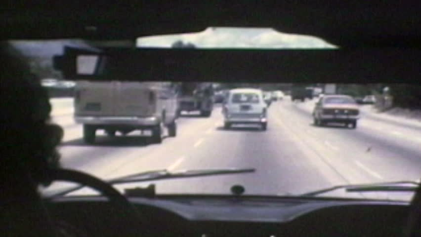 Vintage 8 mm time lapse driving shot of the Ventura 101 Freeway in 1982.