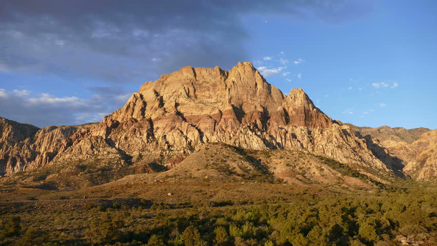Morning light movement on Mt Wilson at Red Rock Canyon National Conservation Area near Las Vegas, Nevada.